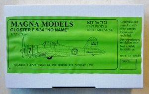 MAGNA 1/72 7572 GLOSTER F.5/34 NO NAME