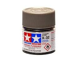 TAMIYA  81532 X-32 TITAN SILVER ACRYLIC PAINT  UK SALE ONLY