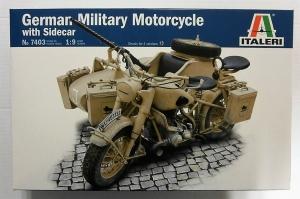 ITALERI 1/9 7403 GERMAN MILITARY MOTORCYCLE WITH SIDECAR
