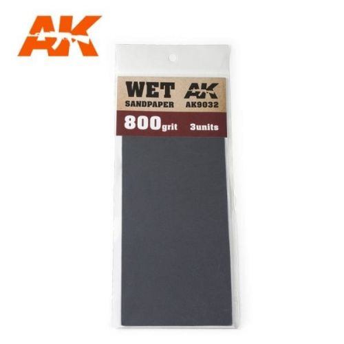 AK INTERACTIVE  9032 3 X WET SANDPAPER 800 GRIT