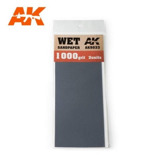 AK INTERACTIVE  9033 3 X WET SANDPAPER 1000 GRIT