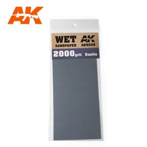 AK INTERACTIVE  9036 3 X WET SANDPAPER 2000 GRIT