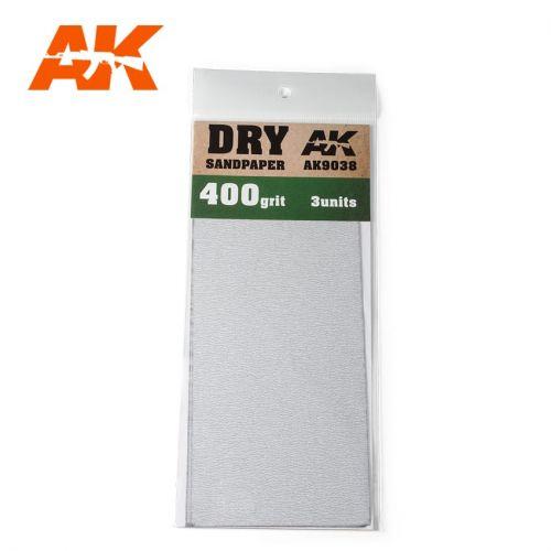 AK INTERACTIVE  9038 3 X DRY SANDPAPER 400 GRIT