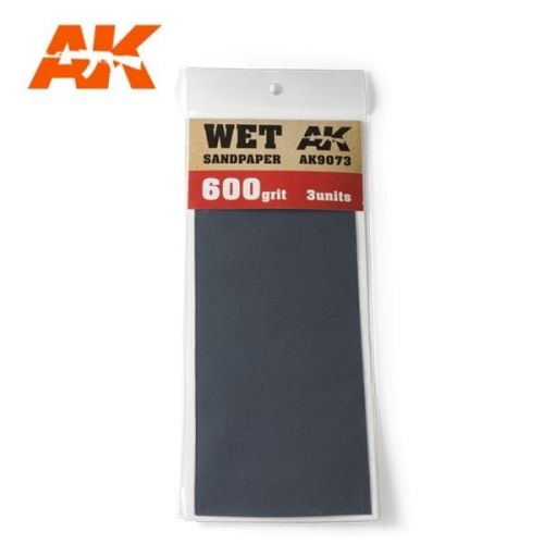 AK INTERACTIVE  9073 3 X WET SANDPAPER 600 GRIT