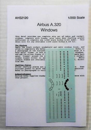 AIRLINE HOBBY SUPPLIES 1/200 1713. AHS2120 AIRBUS A320 WINDOWS