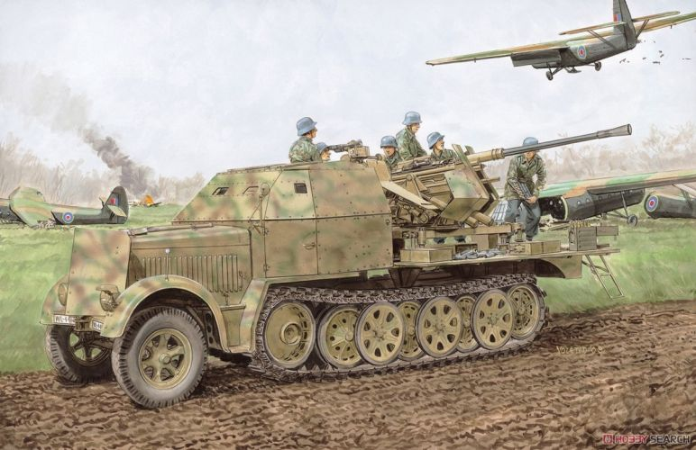 DRAGON 1/35 6953 Sd.Kfz.7/2 3.7CM FLAK 37 W/ARMOR CAB OR Sd.Kfz.7/2 3.7CM FLAK 36