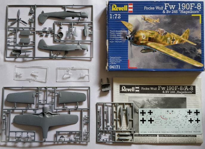 KINGKIT MODEL SCRAPYARD 1/72 REVELL - 04171 FOCKE WULF FW 190F-8   BV 246  HAGELKORN  - PRIMED