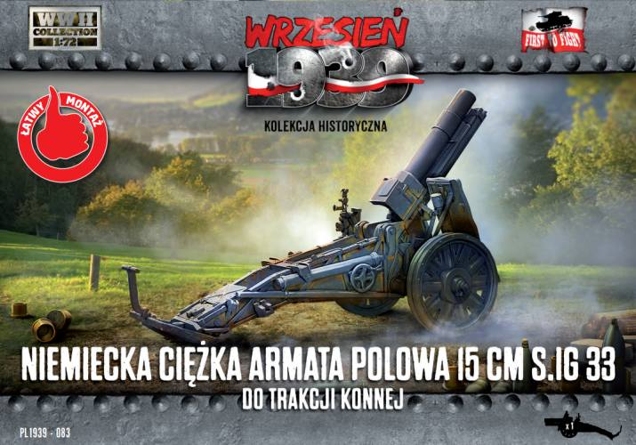 FIRST TO FIGHT 1/72 083 GERMAN HEAVY FIELD GUN 15 cm SIG 33 FOR HORSE TRACTION