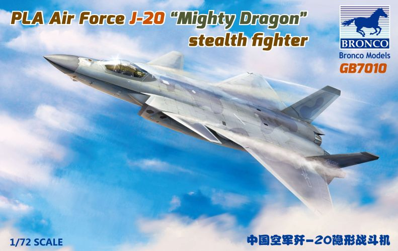 BRONCO 1/72 7010 PLA AIR FORCE J-20 MIGHTY DRAGON STEALTH FIGHTER