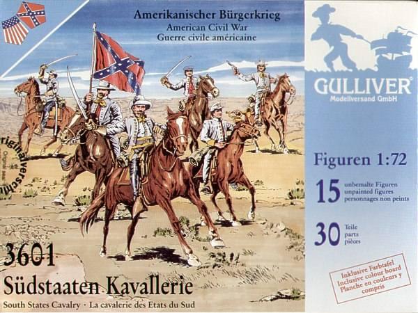 GULLIVER 1/72 3601 SOUTH STATES CAVALRY AMERICAN CIVIL WAR