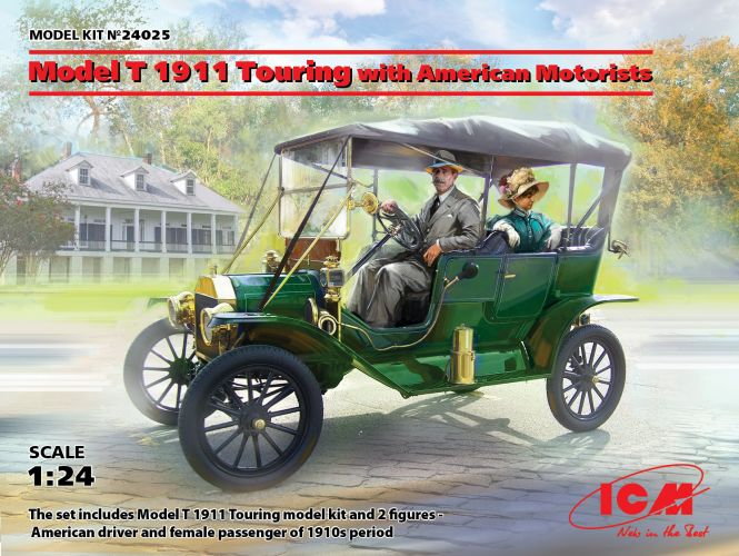 ICM 1/24 24025 MODEL T 1911 TOURING WITH AMERICAN MOTORISTS