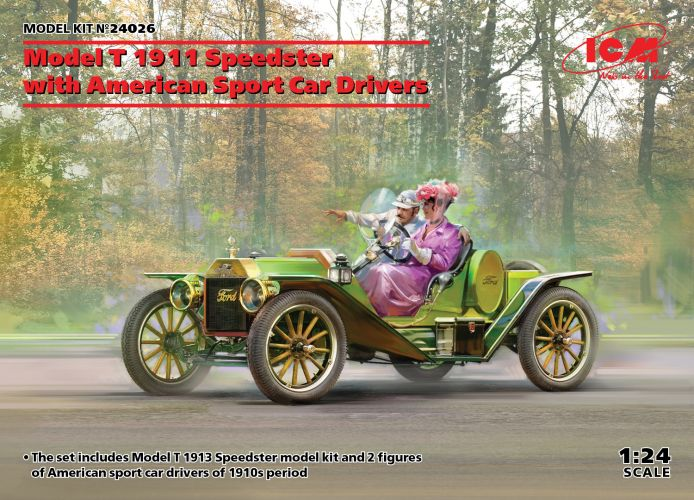 ICM 1/24 24026 MODEL T 1913 SPEEDSTER WITH AMERICAN SPORT CAR DRIVERS