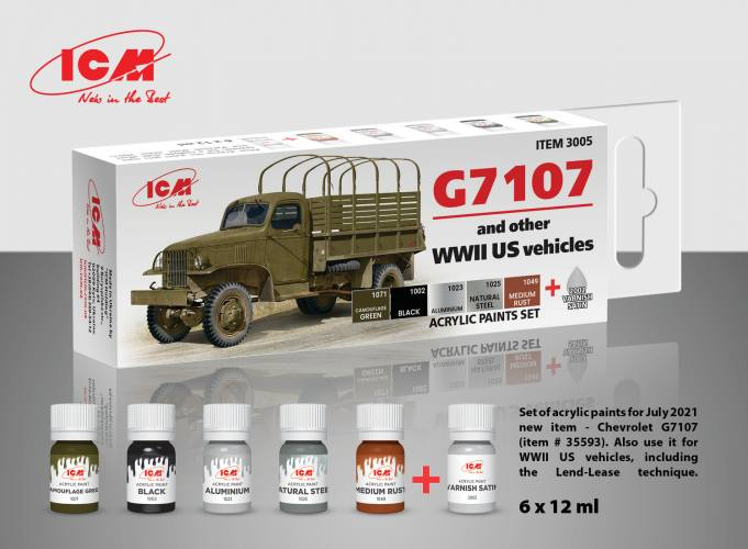ICM  3005 ACRYLIC PAINT SET FOR G7107 4x4 WWII ARMY TRUCK  UK SALE ONLY