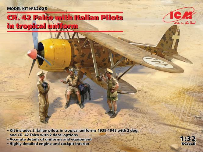 ICM 1/32 32025 CR.42 FALCO WITH ITALIAN PILOTS IN TROPICAL UNIFORM