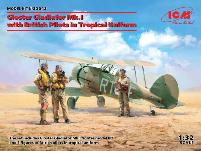 ICM 1/32 32043 GLOSTER GLADIATOR MK.I WITH BRITISH PILOTS IN TROPICAL UNIFORM