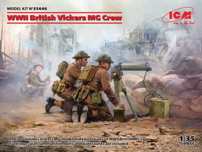 ICM 1/35 35646 WWII BRITISH VICKERS MG CREW