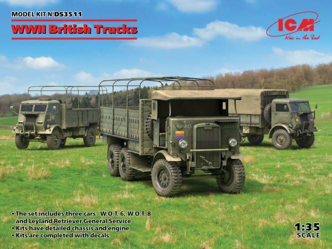 ICM 1/35 DS3511 WWII BRITISH TRUCKS DIORAMA SET  Model W.O.T. 6  Model W.O.T. 8  Leyland Retriever General Service