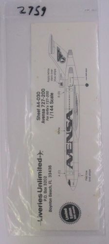LIVERIES UNLIMITED 1/144 2759 A4-30 AVENSA 727-200