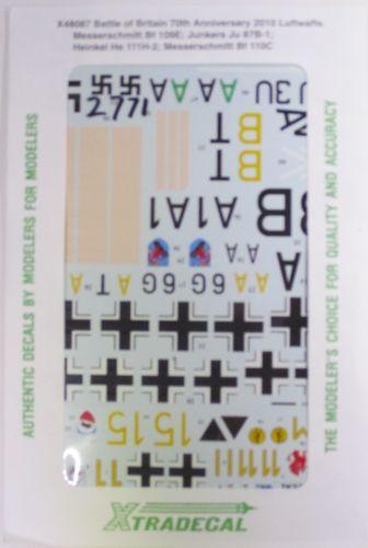 XTRADECAL 1/48 2771 X48087 BATTLE OF BRITIAN LUFTWAFFE MESSERSCHMITT BF 109E  JUNKERS JU 87B-1 HEINKEL HE 111H-2  MESSERSCHMITT 110C
