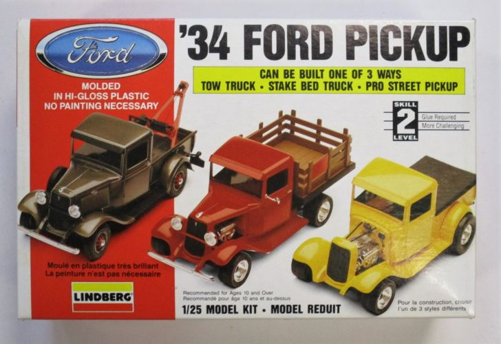 LINDBERG 1/25 72157 34 FORD PICKUP - BUILT ONE OF 3 WAYS - TOW TRUCK - STAKE BED - PRO STREET