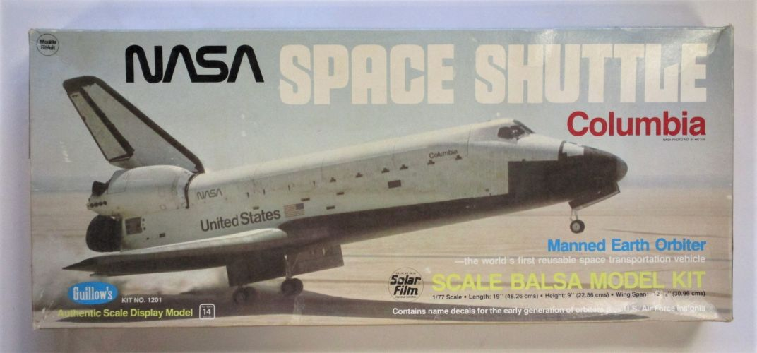 GUILLOWS 1/77 1201 NASA SPACE SHUTTLE COLUMBIA MANY MOVABLE PARTS