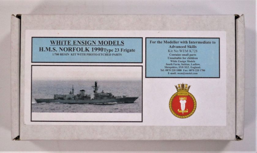 WHITE ENSIGN 1/700 728 H.M.S. NORFOLK 1990 TYPE 23 FRIGATE
