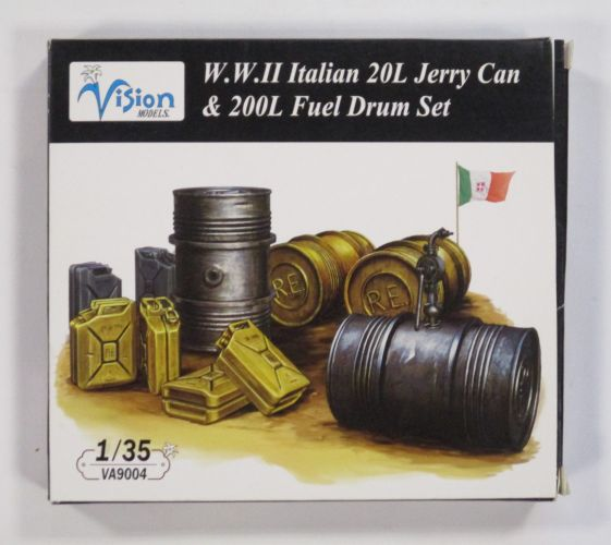 VISION 1/35 9004 W.W.II ITALIAN 20L JERRY CAN AND 200L FUEL DRUM SET