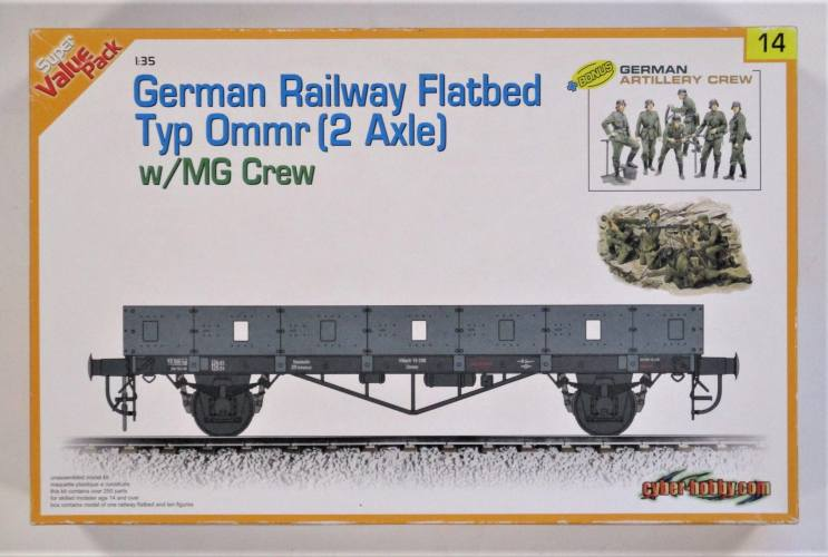 CYBER-HOBBYCOM 1/35 9114 GERMAN RAILWAY FLATBED TYP OMMR  2 AXLE  W/MG CREW