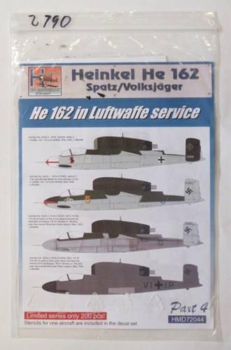 H MODELS 1/72 2790. 72044 HEINKEL HE 162 HE SPATZ/VOLKSJAGER 162 IN LUFTWAFFE SERVICE PART 4