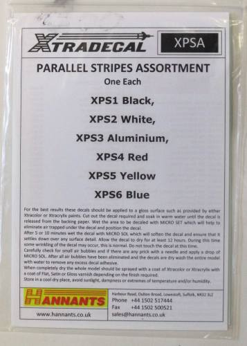 XTRADECAL  2800. XPSA PARALLEL STRIPES ASSORTMENT ONE EACH