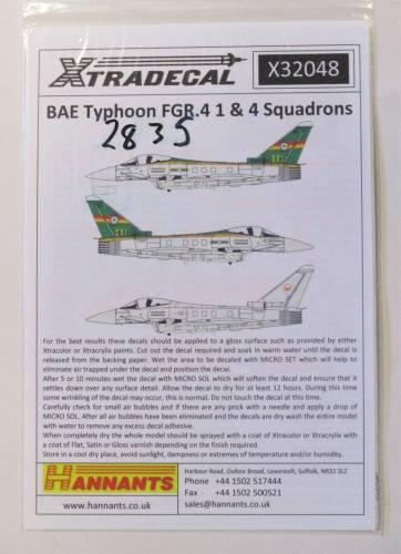 XTRADECAL 1/32 2835. X32048 BAE TYPHOON FGR.4 1   4 SQUADRONS