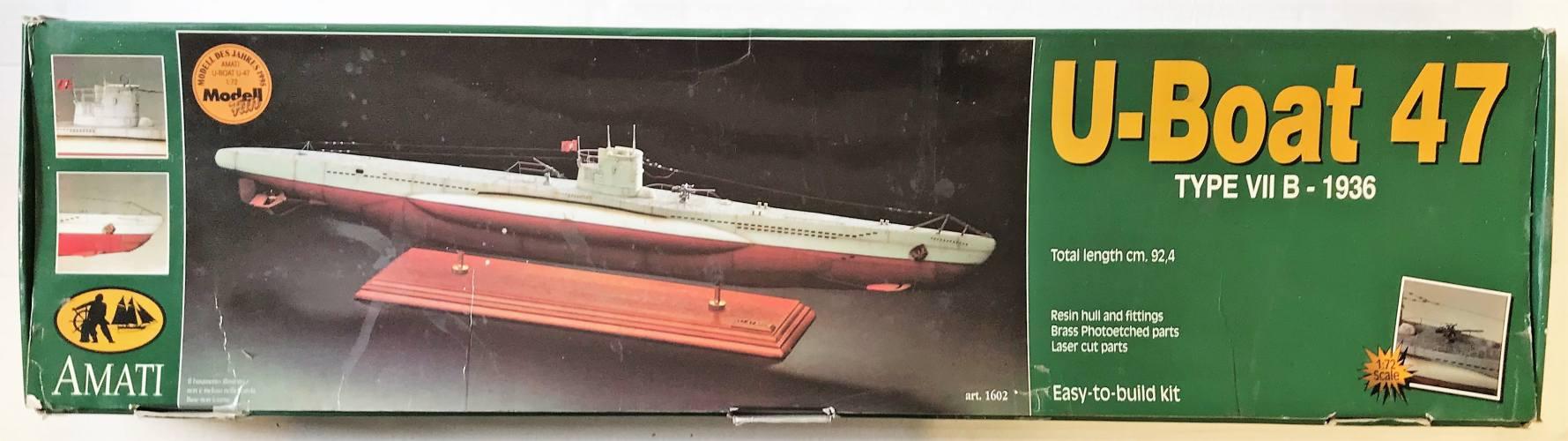 AMATI 1/72 1602 U-BOAT 47 TYPE VII B 1936  UK SALE ONLY
