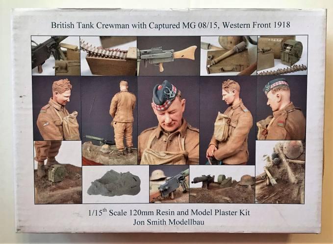 JON SMITH MEDELBAU 1/15 JS10TFB BRITISH TANK CREWMAN WITH CAPTURED MG 08/15