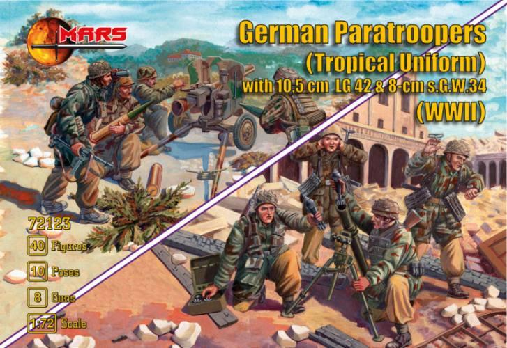 MARS 1/72 72123 German Paratroopers  Tropical Uniform  with 10.5cm LG42 8cm s.G.W.34