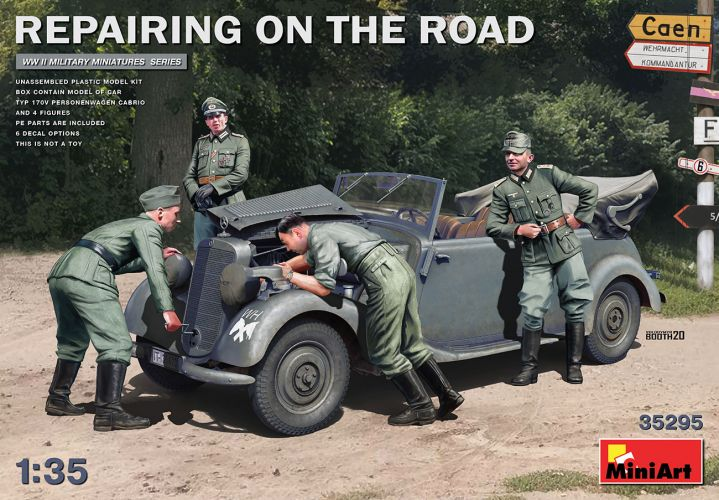 MINIART 1/35 35295 REPAIRING ON THE ROAD 170V CABRIO AND FIGURES