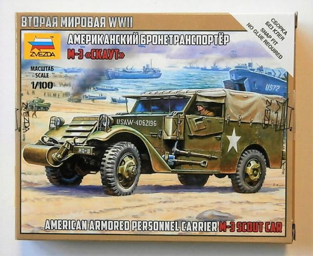ZVEZDA 1/100 6245 AMERICAN ARMOURED PERSONNEL CARRIER M-3 SCOUT CAR