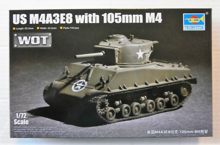 TRUMPETER 1/72 07168 US M4A3E8 WITH 105mm M4