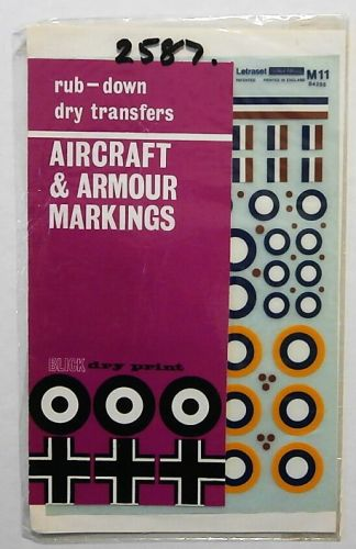 1/72 2587. LETRASET M11 RAF A1 TYPE ROUNDELS  1937-1947  A TYPE ROUNDELS  1915-1942 AND FIN FLASHES  DEC 1940-1942
