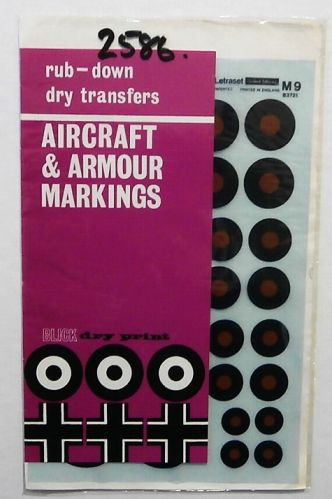 1/72 2586. LETRASET M9 RAF UPPER WING AND FUSELAGE B TYPE ROUNDELS  1923-1947