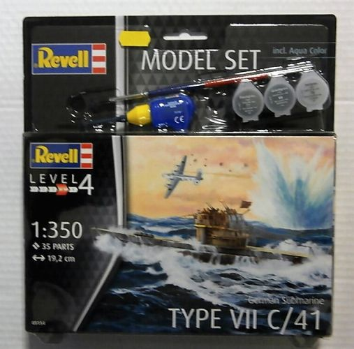 REVELL 1/350 65154 GERMAN SUBMARINE TYPE VII C/41  MODEL SET