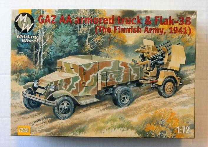 MILITARY WHEELS 1/72 7243 GAZ AA ARMOURED TRUCK   FLAK-38 FINNISH ARMY 1941