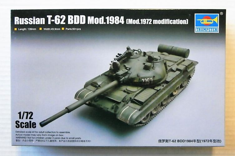 TRUMPETER 1/72 07148 RUSSIAN T-62 BDD MOD.1984  MOD 1972 MODIFICATION