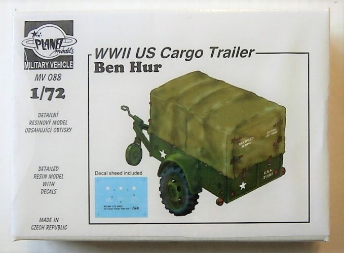 PLANET MODELS 1/72 MV088 WWII US CARGO TRAILER BEN HUR