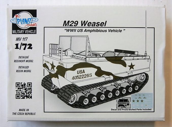 PLANET MODELS 1/72 MV117 M29 WEASEL WWII US AMPHIBIOUS VEHICLE