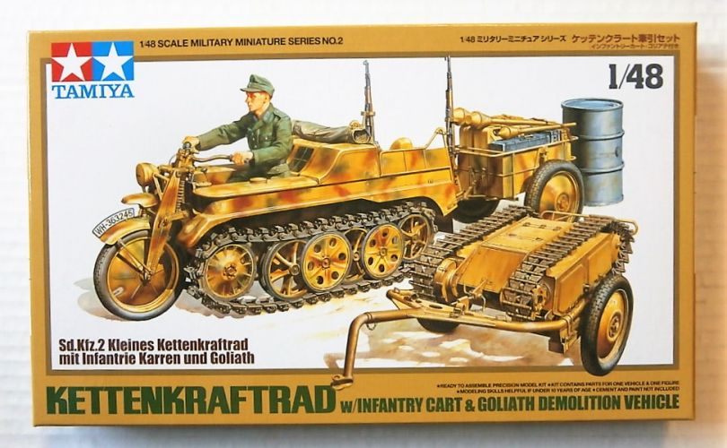 TAMIYA 1/48 32502 KETTENKRAFTRAD WITH INFANTRY CART   GOLIATH