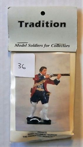 TRADITION MODELS 54mm 608/3 PRIVATE SWISS REGIMENT KARRER - THE FRENCH   INDIAN WAR 1750s
