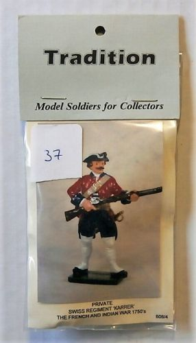 TRADITION MODELS 54mm 608/4 PRIVATE SISS REGIMENT KARRER - THE FRENCH   INDIAN WAR 1750s