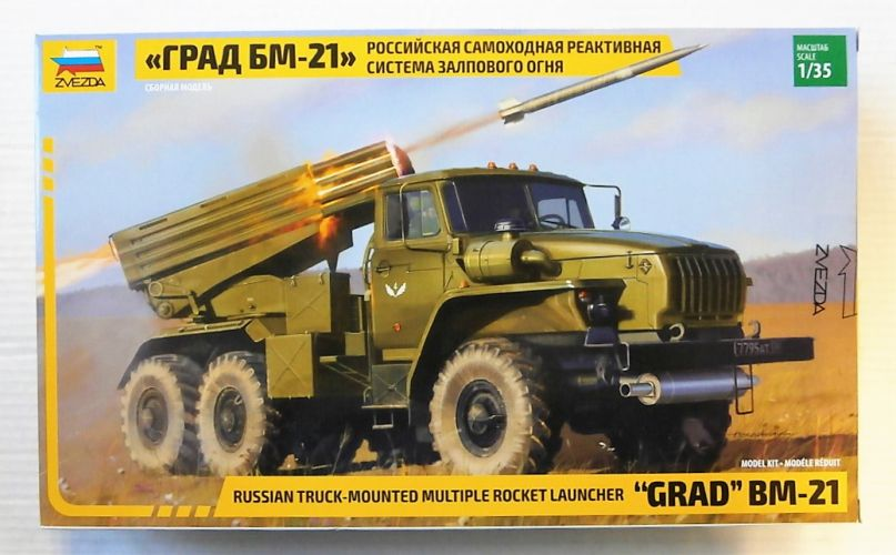 ZVEZDA 1/35 3655 GRAD BM-21 RUSSIAN TRUCK MOUNTED MULTIPLE ROCKET LAUNCHER