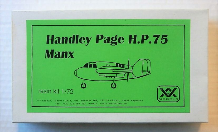 A   V MODELS 1/72 HANDLEY PAGE H.P.75 MANX