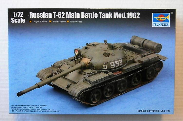TRUMPETER 1/72 07146 RUSSIAN T-62 MAIN BATTLE TANK Mod 1962